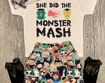 Monster Mash Baby Outfit, Halloween Trendy Baby Girl Outfit, Funny Baby Clothes, Newborn Baby Girl Outfit, Trendy Baby Outfit