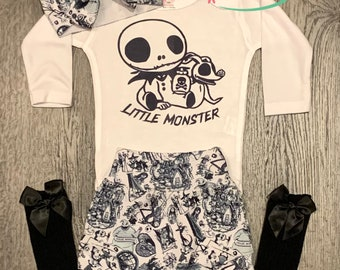 Little Monster Jack Skellington Baby Outfit, Halloween Trendy Baby Girl Outfit, Baby Clothes, Newborn Baby Girl Outfit, Trendy Baby Outfit