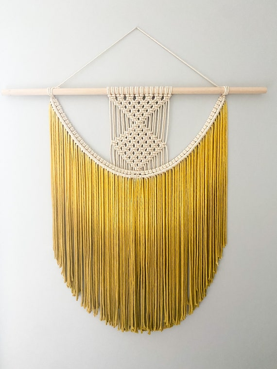 Large Macrame Walling Hanging, Dip dyed macrame wall hanging. Fiber art, boho decor. Custom Colors available!!