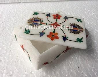 "4""x3""x2"" Marble Handmade Jewelry Vintage Box Lapis Inlaid Multi Stone Floral Design Christmas Gift"