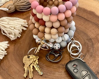 Silicone Bead Customized Keychain Silver Clasp Gold Clasp Personalized Name