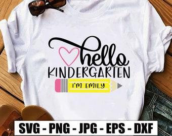 Custom Name Hello Kindergarten Im Emily Svg, Kindergarten Svg, Back To School Svg, School Kid Svg, First Day Of School Svg