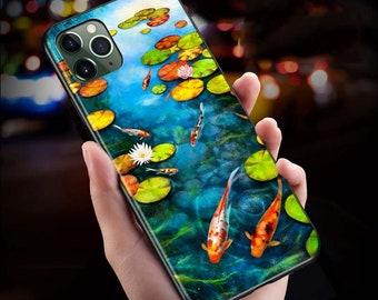 Mobile phone Bag koiNishikigoi sewn to desired dimension, Japan, Japanese, fish, water lilies, pond, blue, woman Sunday, free shipping: