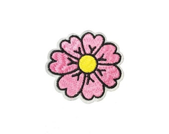 Iron or Sew on Pink Daisy Flower Embroidered Patch Badge