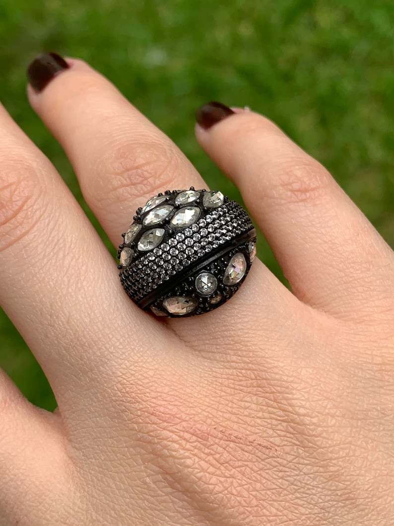 For women Tumbled Diamond Ring Zircon Gemstone Jewelry gifts for her 925 sterling silver Zircon Ring