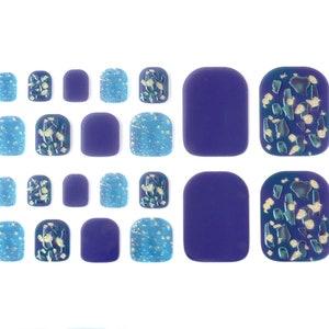 Glitzer Nagel Wraps für Zehen / blau & Gold Zehen Nagel | Etsy