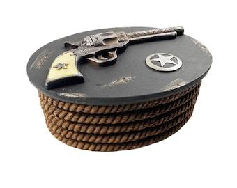 Western Colt Pistol Marshalls Badge Trinket Box Hand Painted