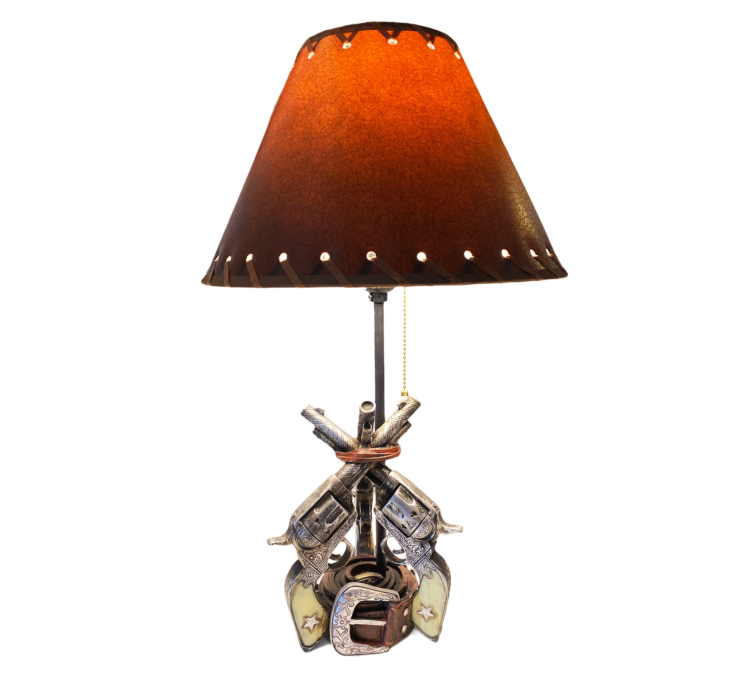 """Urbalabs Three Six Shooter Pistol 20"""" Inch Six Shooter Western End Table Standing Table Lamp Farmhouse Nightstands Living Room End Tables"""