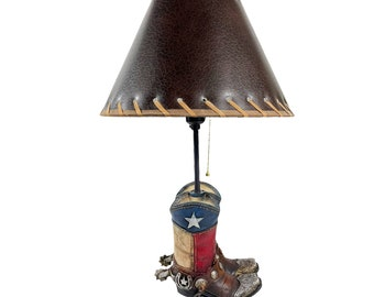 Urbalabs Texas Flag Western Double Cowboy Boot Western End Table Standing Table Lamp Farmhouse Nightstands Living Room End Tables Lamps