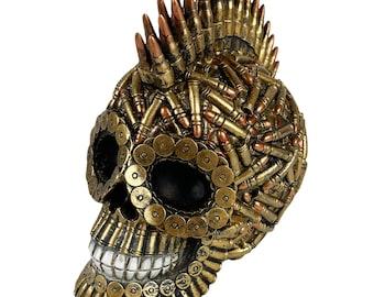 Urbalabs Billy Bullet Shells Steampunk Skull Mohawk Cartridge Casings Skull Statue Skeleton Head Figurine Hunting Skull Decor Bullet Art