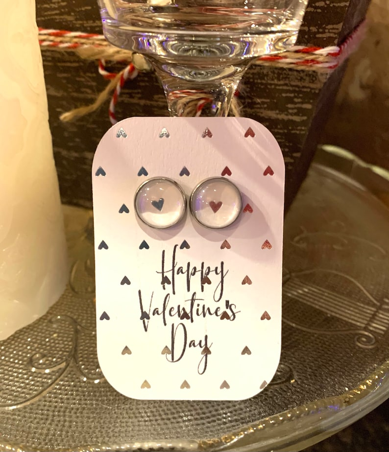 Valentines Day Earrings with Matching Card