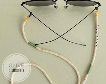 Mask chain | Olive HANDMADE eyewear chain in BERLIN with LOVE | Bracket Band Mouthguard Sunglasses | Olive green khaki Black rust brown