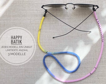 Mask chain | Eyewear chain Happy Batik | HANDMADE in BERLIN with LOVE | Ribbon Sunglasses | Yellow, Light Pink, Pink, Blue, Black, Gold