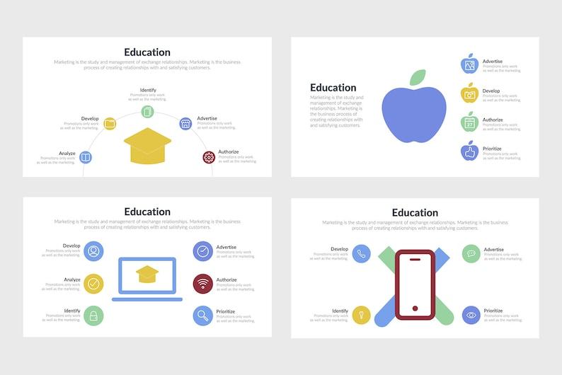 Education Infographics Google Slides PowerPoint Template Photoshop PSD PPTX Keynote Template Adobe Illustrator