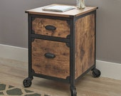 2021 PREMIUM VINTAGE Weathered Pine Finish 2 Drawer Rustic Country File Cabinet End table Console Table Night Stand Living Room Furnitures