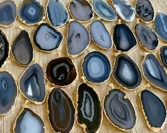 Black Agate Slice Pair Black Geode Slice Pair Dyed Black Geode Slice PG3809AP Black Agate Slice Black Agate Slice Gold Plated