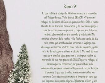 Salmo 91 en español, impresión de arte del salmo 91, salmo 91 completo, versos bíblicos, salmo de David, arte y fe, palabra de Dios.