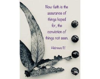 Digital Download. Hebrews bible verse, bible verse with nature illustration, bible verse art print, Hebrews 11:1, faith artwork