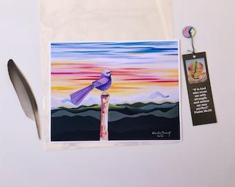 bird art print,  nature art print, colorful art print, bird singing art print, bird chirping art print, arte de naturaleza, arte de pájaros.