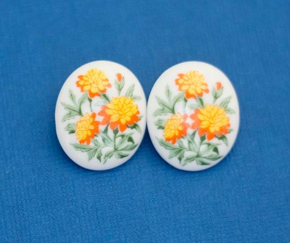 Ceramic Marigold Earrings, Vintage Earrings, Marig