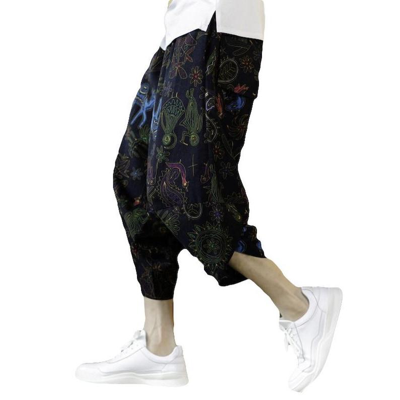 Cropped Pants Ninja Pants Loose Pants Jogger Pants Men Tribal Pattern Drawstring Linen Harem Pants