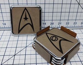 Star Trek Insignia Set of 4 Premium Square Coasters Leatherette Metal Base and Holder Coaster Set