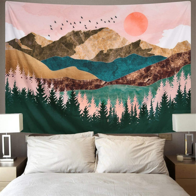 Wall Hanging for Living Dorm Deco Nature Landscape Tapestry Forest Tree Tapestry Sunset Tapestry Mountain Tapestry Psychedelic Tapestry