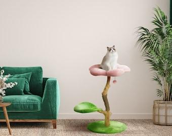 Modern Floral Cat Tree, Wooden Cat Tower, Modern Cat House, Cat Furniture, Cat Gift, Cat Climbing Tree, Flower Cat Tree, Size XL