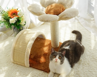 Cat Tree With Scratching Post and Pad for Grinding Claws & Protecting Furniture Heavy Duty Natural Sisal Hemp Rope Flower Design Size S