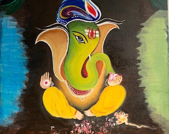 Ganesh Painting Abstract Outline 8 X 10 Canvas Panel Indian Etsy