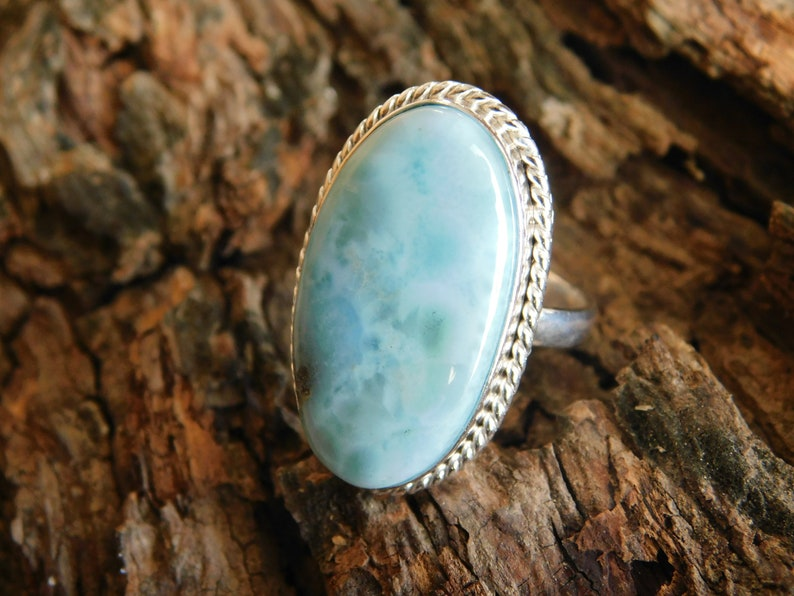 Natural Larimar Ring* Sterling Silver Rings For Women* gemstone ring* Dainty Vintage ring*Anniversary gift*Solitaire Ring*Antique ring* S8
