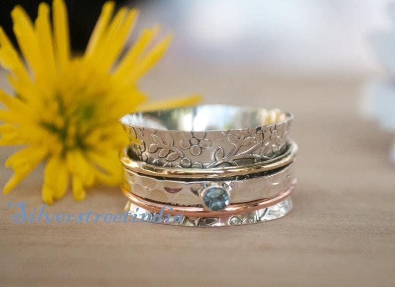 Blue Topaz Stone Ring* Spinner Ring* 925 Sterling Silver Ring* Spinner Ring* Women Ring* Anxiety Ring* Worry Ring* Fidget Ring* Lovely Ring*