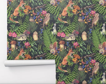 Forest Animals Removable Wallpaper, Kids Wallpaper Peel and Stick Wallpaper, Cute Animal Self Adhesive Wallpaper Roll