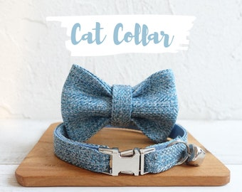 Personalized Cat Collar with Engraved Buckle, Blue Linen with Bow and Bell