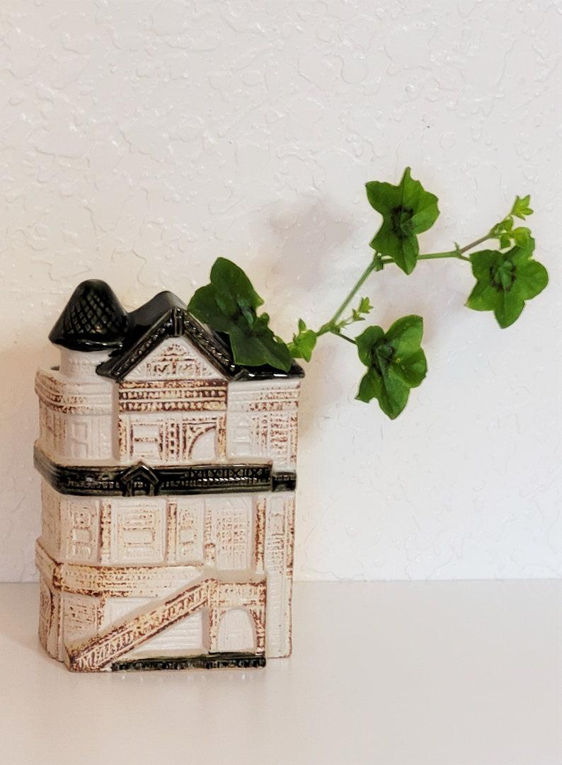 Vintage San Francisco Victorian House Planter  70s Wall Pocket Vase  Victorian Home Vase  Made in Japan