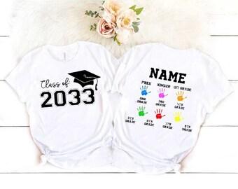 Handprint Graduation Tee, Add Handprint Every Year, Preschool Shirt, Back To School Shirt, Class Of 2034 Personalized Shirt HA