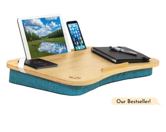 Natural Bamboo Lap Desk *4 COLORS AVAILABLE* lapdesk with cushion, bed desk, drawing lap table, laptop table, lap tray with cushion, tray