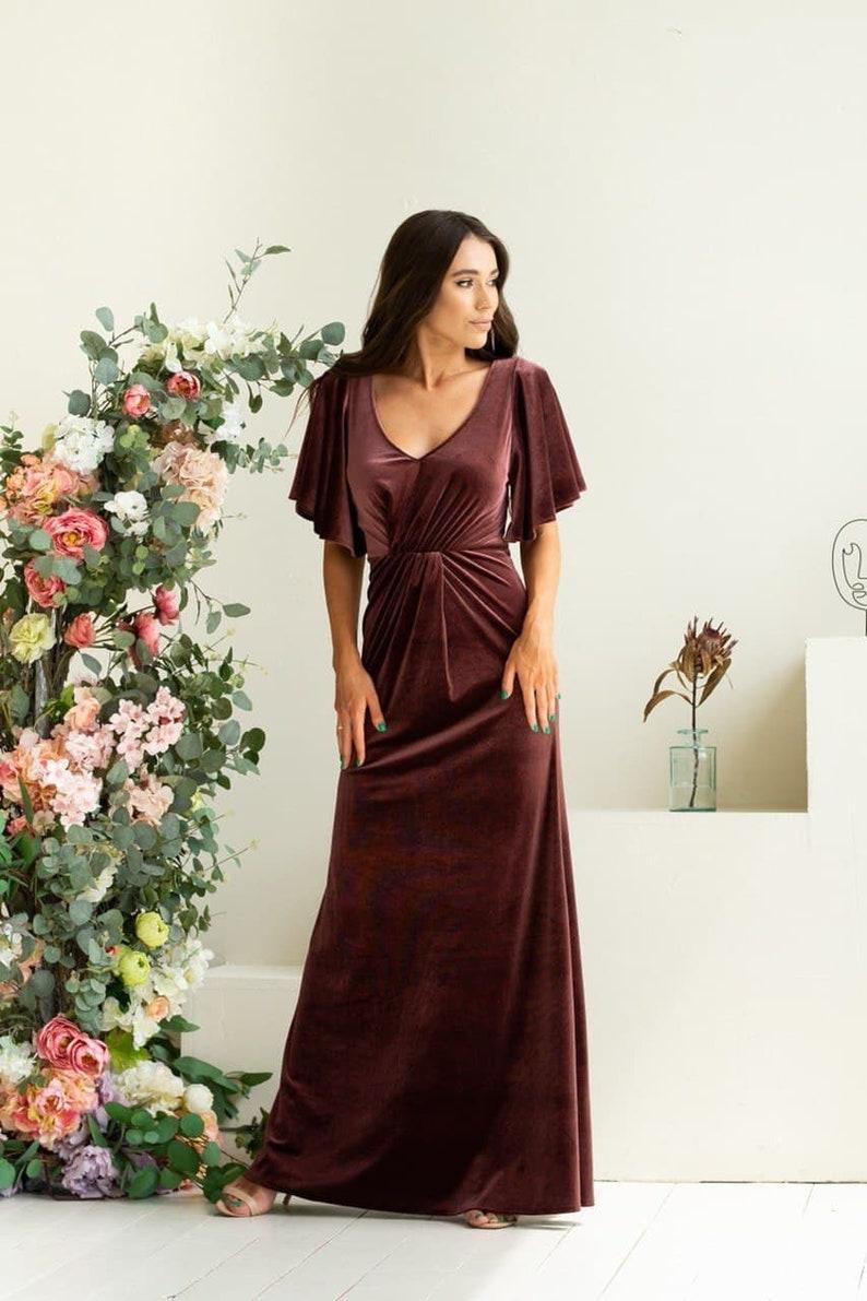 Dusty Rose Velvet Maxi Dress Flutter Sleeves A-Line Style Dusty Rose