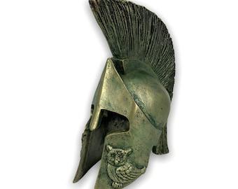 Battle Helmet  Bronze 7cm GoldBlack Patina