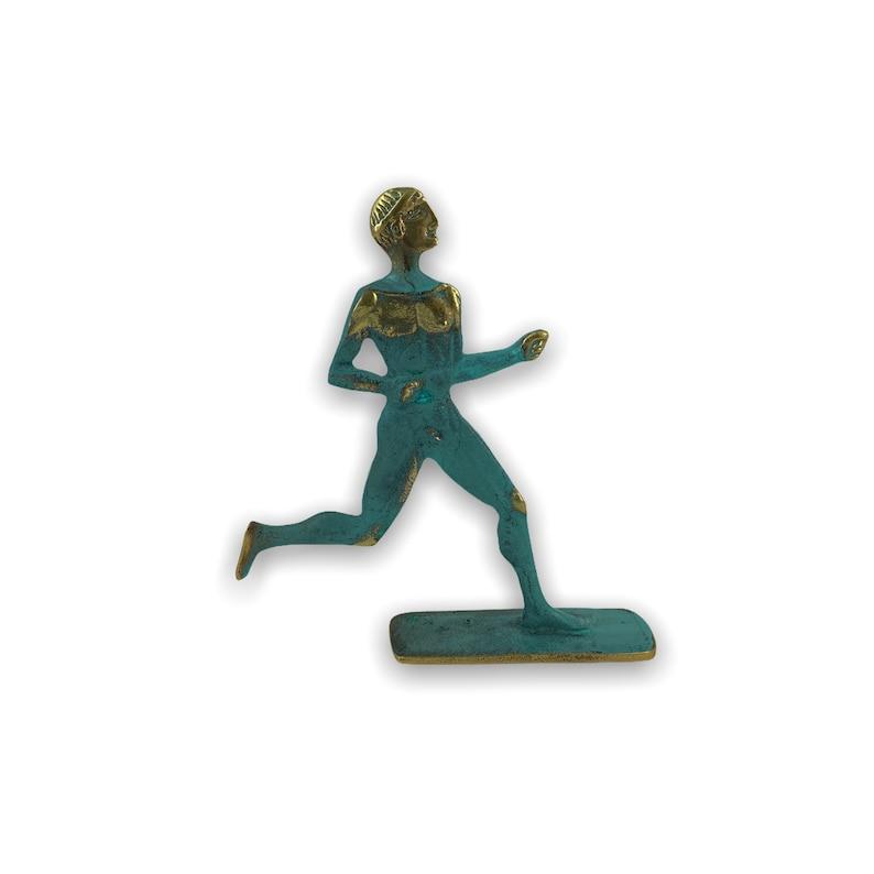 Greek Runner Ancient Athlete Solid Bronze Statue 15cm5.90inches