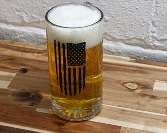 Patriot Elephant Don/'t tread in me and American flag etched Beer glasses