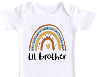 I/'m The New Little Brother Baby Vest Boys Sister Big Gift Set Announcement Grow