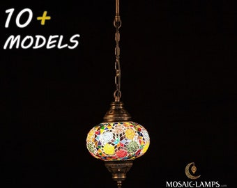 Turkish Mosaic Pendant Lamp Large Size, Single Chain Hanging Lamp for Kitchen, Bedroom, Dining Room,Bedroom, Restaurant, Bar, Hotel