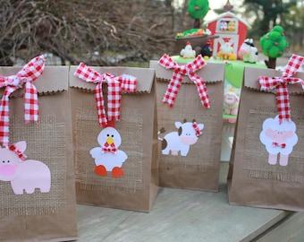 Farm Animals Lunch Bag Favor set of 4 / Cow Birthday Party / Farm Party Favor / Barnyard Birthday Party /Barnyard Baby Shower/Farm Goody Bag