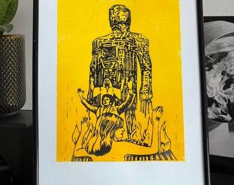 The Wicker Man 1973 Handcarved Linoprint