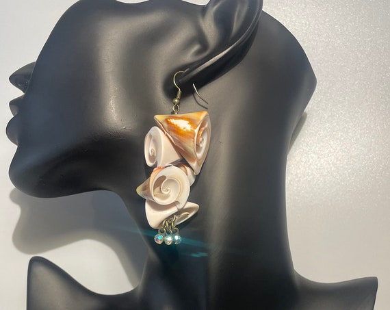 Large long shell dangle drop earrings