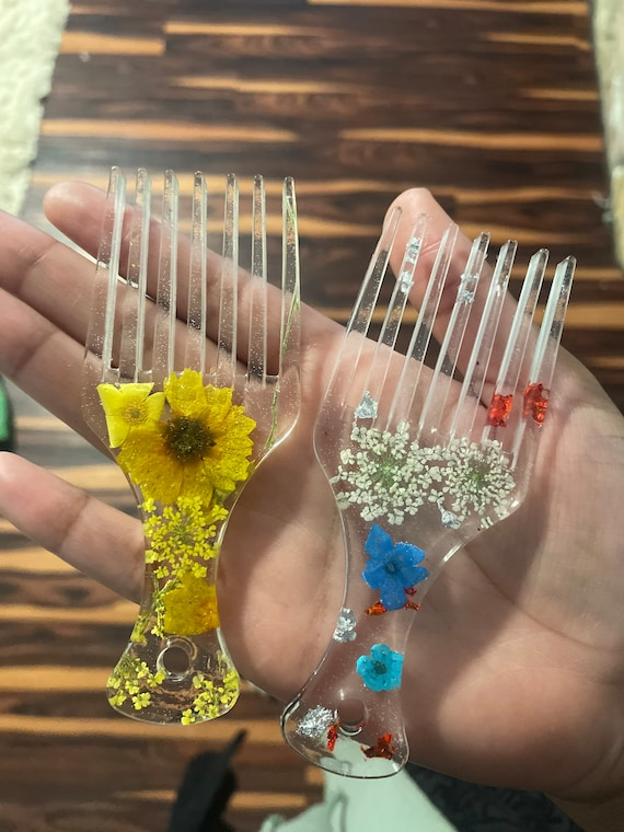 Blue or yellow small portable miniature Afro pick hair combs