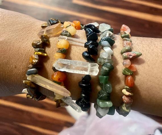 Tigereye, clear quartz, jasper, orange quartz OR carnelian and unakite or tigereye Beaded crystal chip stretch bracelets