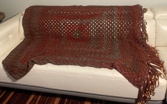 Red grey and brown granny square blanket