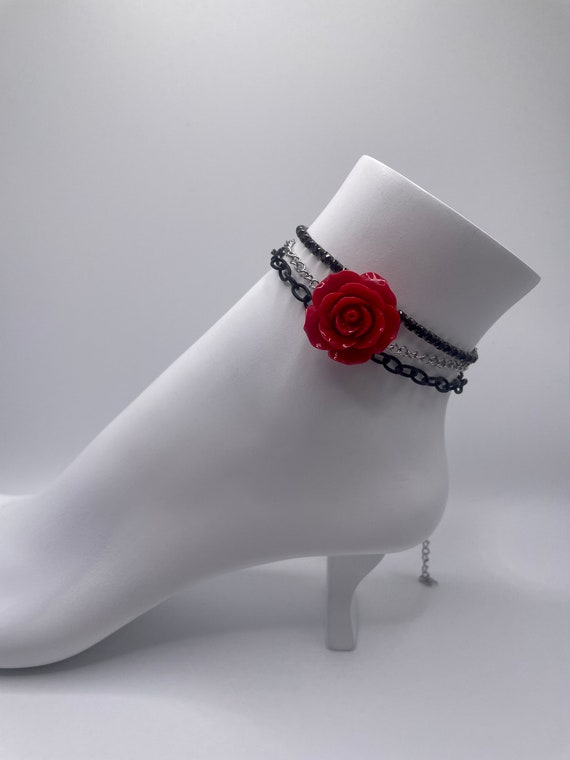 handmade red rose and black chain ankle bracelet(anklet)/ bracelet set of three.